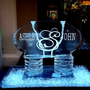 Ice scuplture with name